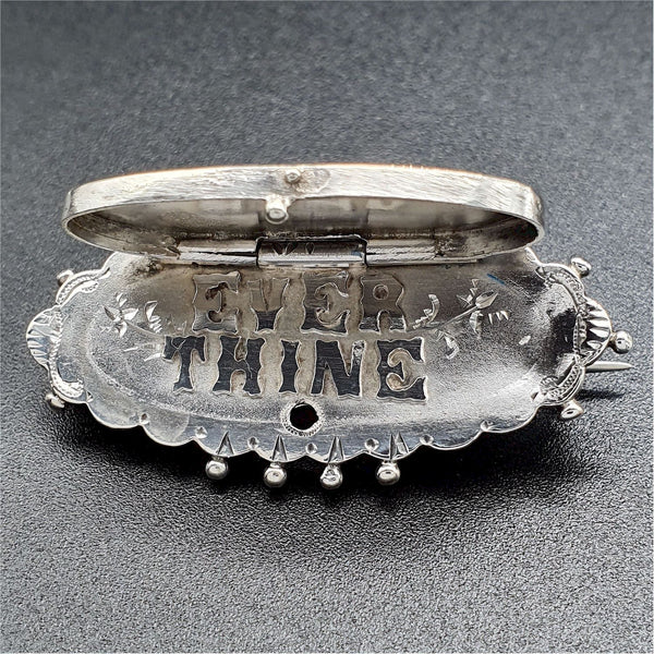 Antique silver sweetheart hinged hidden message brooch - Cumbrian Designs