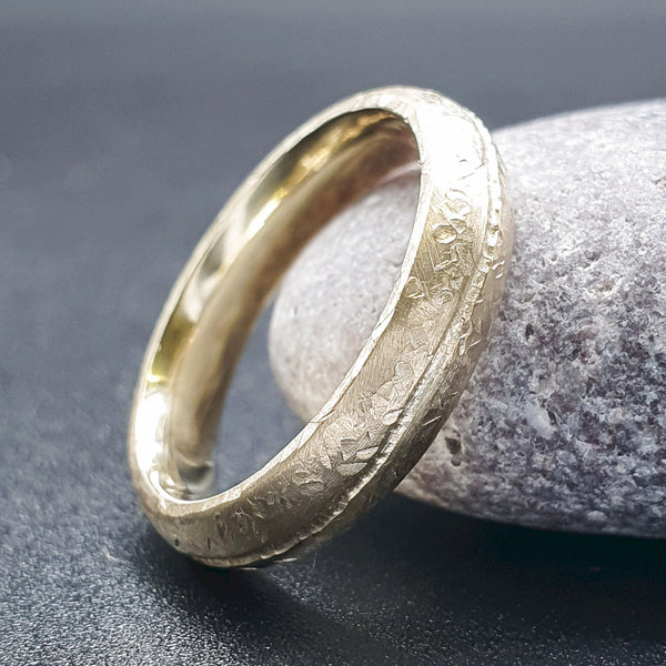 Designer thin gold wedding ring, Carrock Fell carved band.