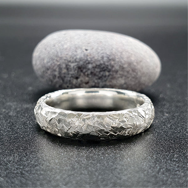 Wedding ring, broad platinum Fire hammered design - Cumbrian Designs