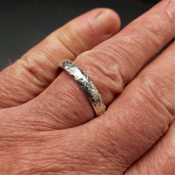 Wedding ring, thin silver Fire hammered design - Cumbrian Designs