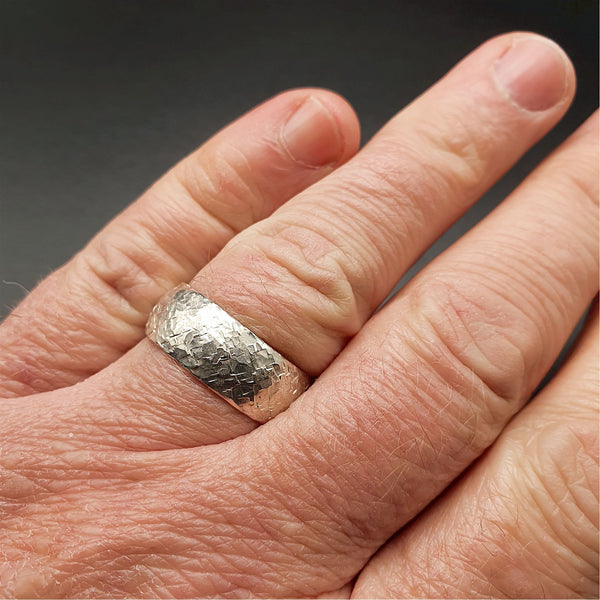 Wedding ring, broad silver Fire hammered design - Cumbrian Designs