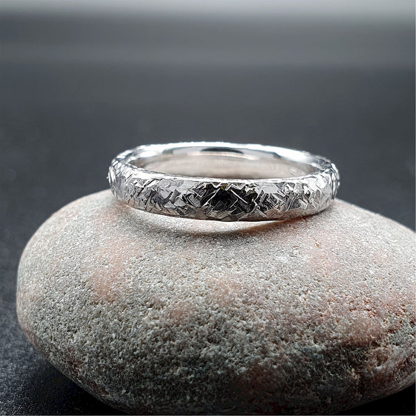 Wedding ring, thin white gold Fire hammered design - Cumbrian Designs