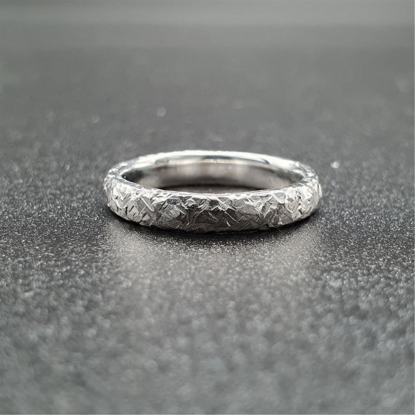 Wedding ring, thin white gold Fire hammered design Designer Wedding Rings Wedding Ring