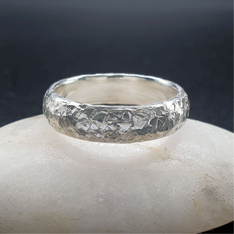 Wedding ring, broad white gold Fire hammered design - Cumbrian Designs