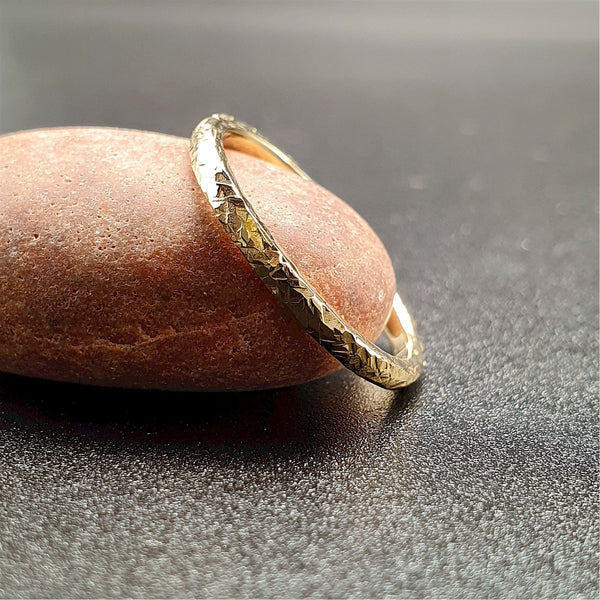 Wedding ring, thin yellow gold Fire hammered design Designer Wedding Rings Wedding Ring