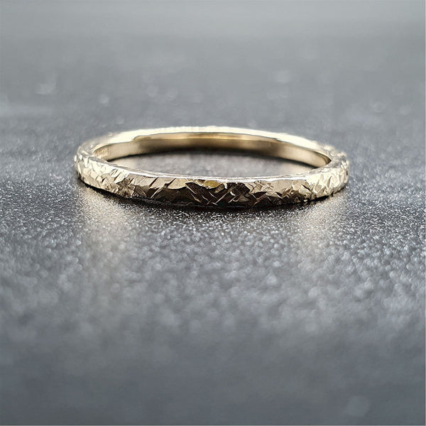 Wedding ring, thin yellow gold Fire hammered design - Cumbrian Designs