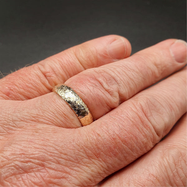 Wedding ring, broad yellow gold Fire hammered design - Cumbrian Designs