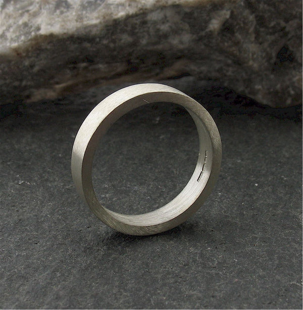 Platinum flat thin wedding ring - Cumbrian Designs