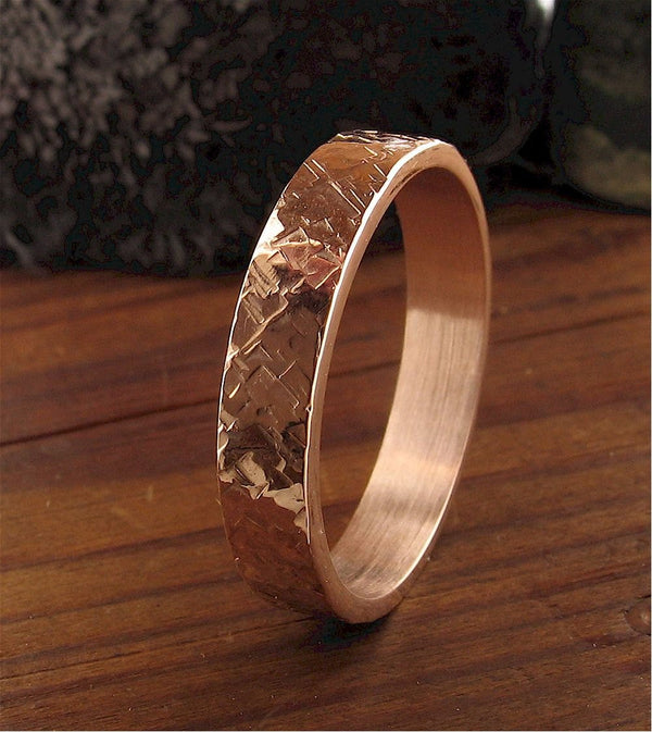 Rose gold wedding ring Rustic Hammered design 4mm wedding band flat style for men or women. - Cumbrian Designs