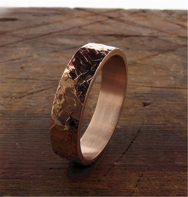 Rose gold Rustic Hammered wedding ring flat style 5mm wide for a man or a woman. - Cumbrian Designs