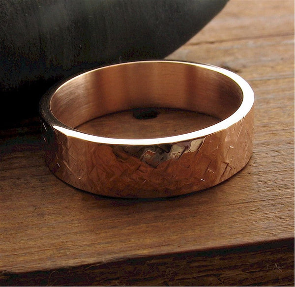 Rose gold wedding ring Rustic Hammered wedding band flat 6mm wide design for men or women. - Cumbrian Designs