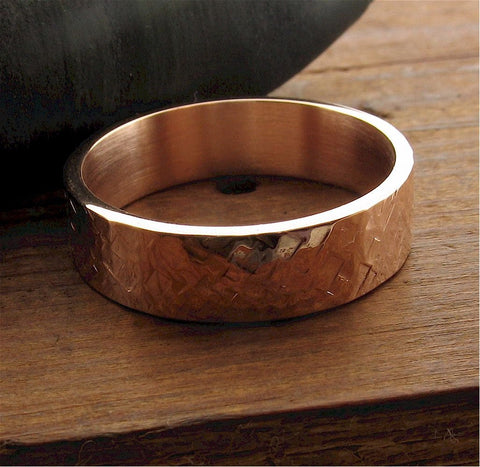 Rose gold wedding ring Rustic Hammered wedding band flat 6mm wide design for men or women.