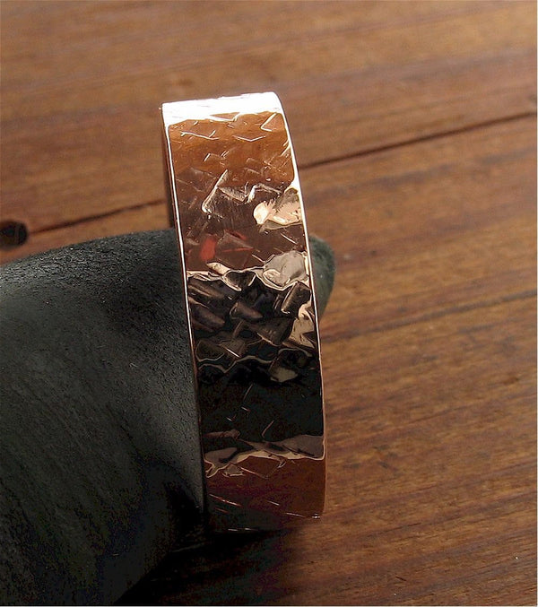Rose gold wedding ring Rock Fall wedding band flat 6mm wide design for men or women. - Cumbrian Designs