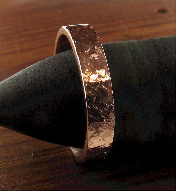 Rose gold wedding ring Rustic Hammered design 4mm wedding band flat style for men or women.