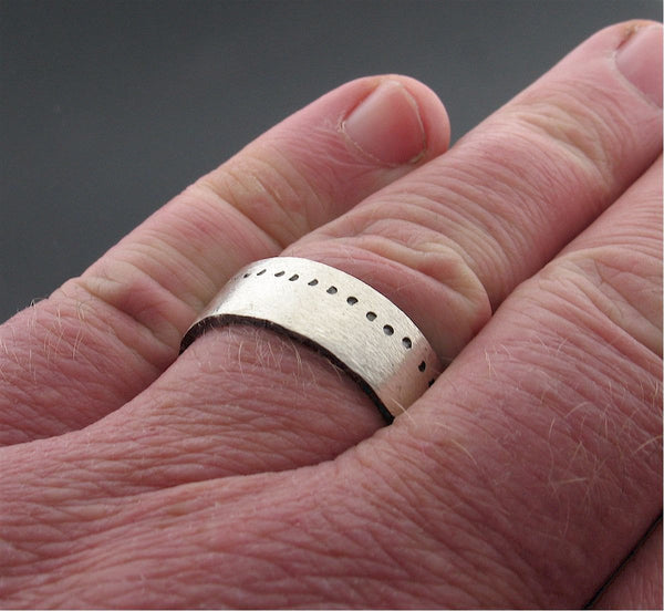 Mens 8mm flat silver wedding ring, Snow Track handmade wedding band, an original design for a man or woman.