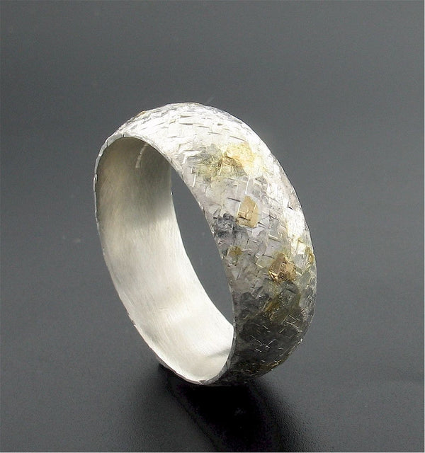 Silver and gold Sunrise 8mm court wedding ring with rustic hammered surface. Original design handmade band for a man - Cumbrian Designs