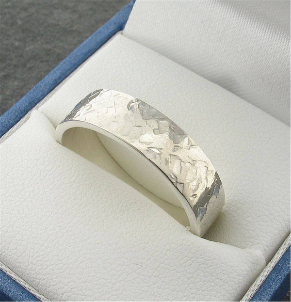 Mans white gold 5mm wedding ring heavy flat Rustic Hammered style band - Cumbrian Designs