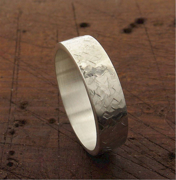 Mens white gold 6mm wedding ring, heavy flat Rock Fall design - Cumbrian Designs