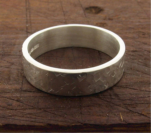 Mens white gold 6mm wedding ring, heavy flat Rustic Hammered style band for a man.