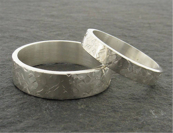 Mans white gold 5mm wedding ring, heavy flat Rustic Hammered style band for a man or woman.