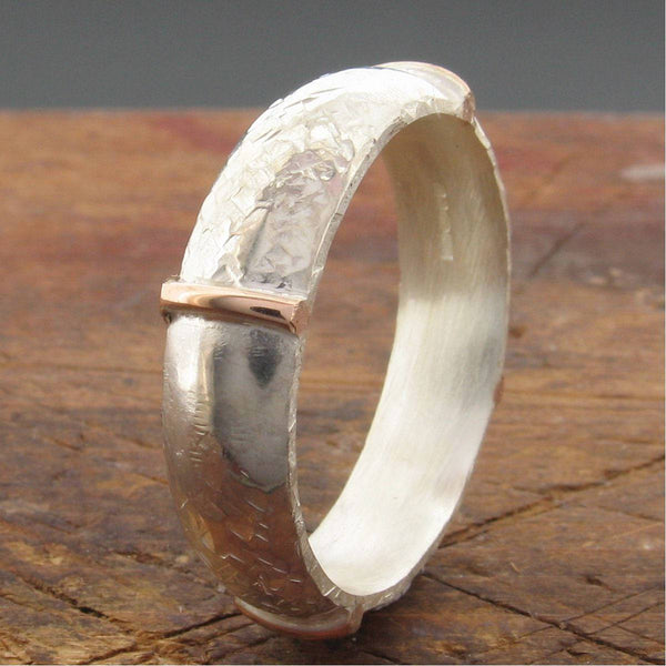 Rustic mans 6mm wedding ring, rose gold, silver Honister White design - Cumbrian Designs