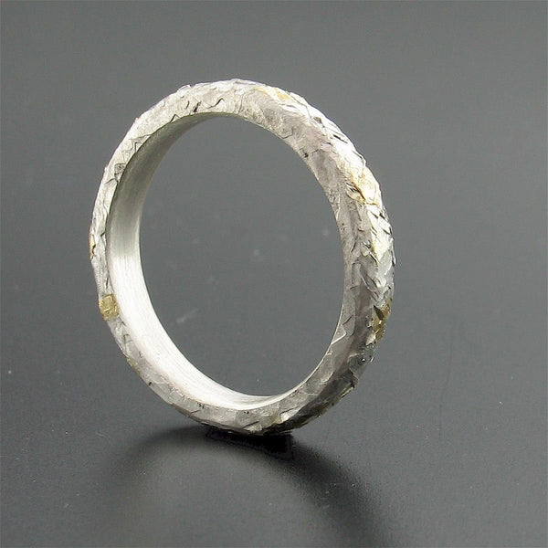 Silver and gold Sunrise court wedding ring with rustic hammered surface. Original design 3mm handmade womens band - Cumbrian Designs
