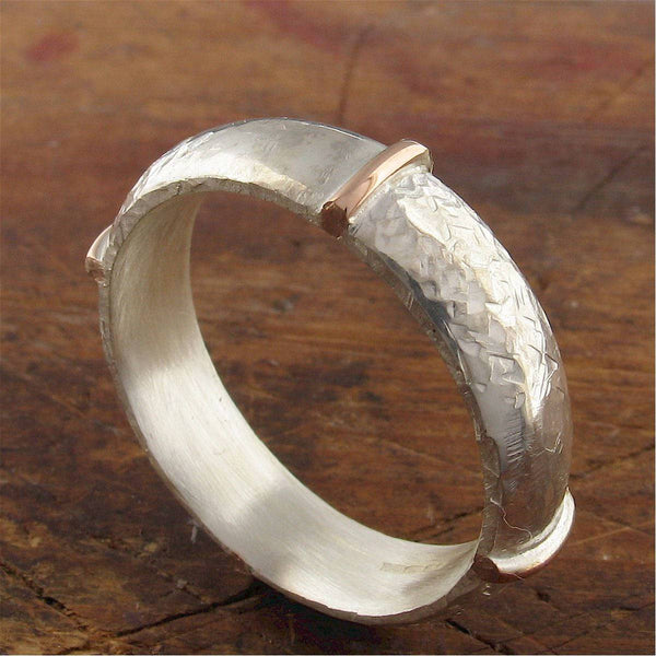 Rustic mans 6mm silver wedding ring, handmade court wedding band in rose gold and silver, Honister White design.