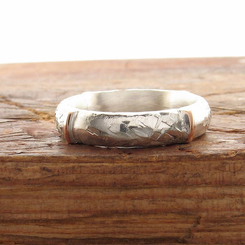 Rustic 4mm silver wedding ring, handmade court wedding band in rose gold and silver, Honister White design for a woman or a man.