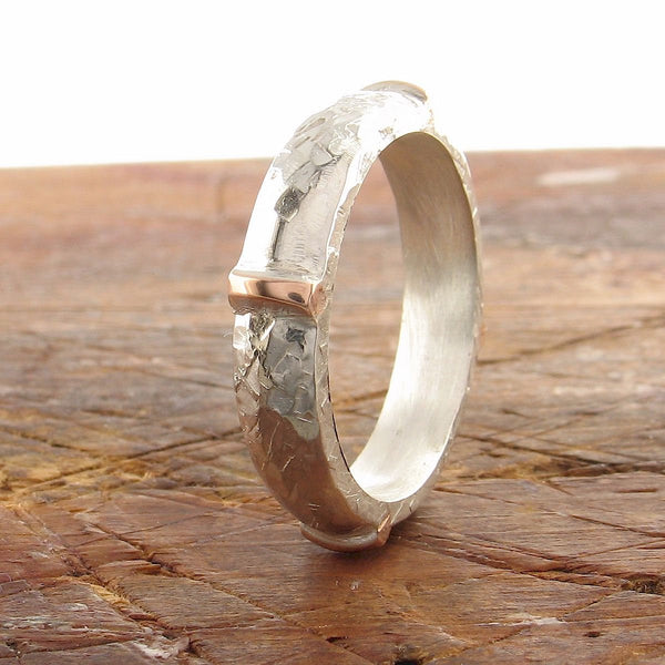 Rustic 4mm wedding ring in rose gold and silver, Lakeland Mine White design - Cumbrian Designs