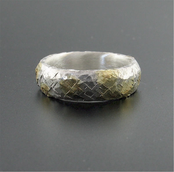 Silver Morning View court wedding ring with rustic hammered surface. Original design 5mm handmade band - Cumbrian Designs