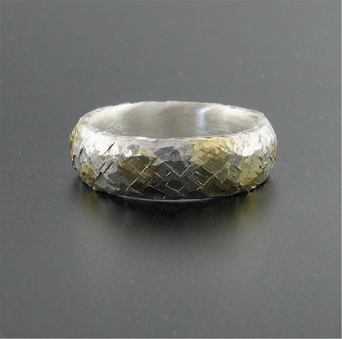 Silver and gold Sunrise court wedding ring with rustic hammered surface. Original design 5mm handmade band