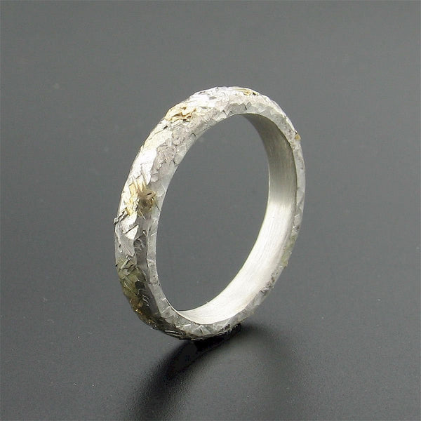 Silver and gold Sunrise court wedding ring with rustic hammered surface. Original design 3mm handmade womens band