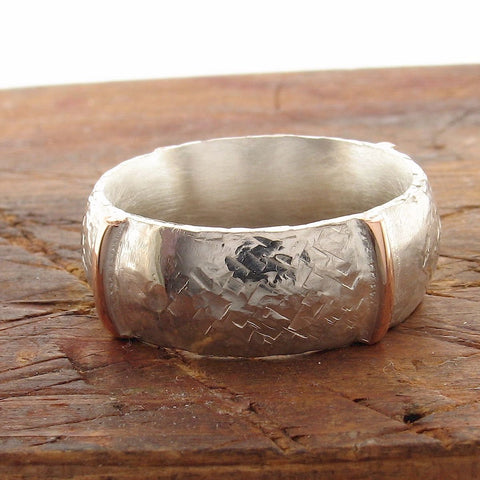 Rustic 8mm wedding ring in rose gold and silver, Honister White design. - Cumbrian Designs
