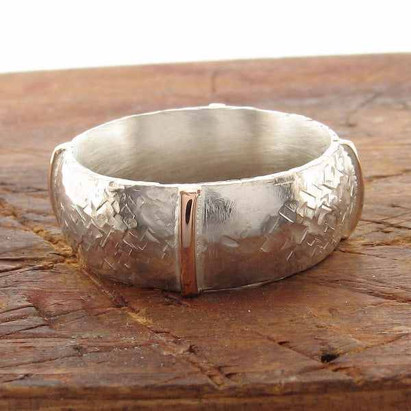 Rustic 8mm wedding ring in rose gold and silver, Lakeland Mine White design. - Cumbrian Designs