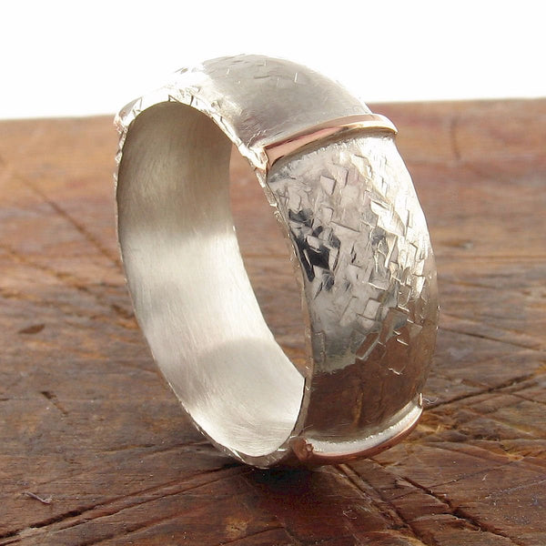 Rustic mans 8mm silver wedding ring, handmade court wedding band in rose gold and silver, Honister White design.