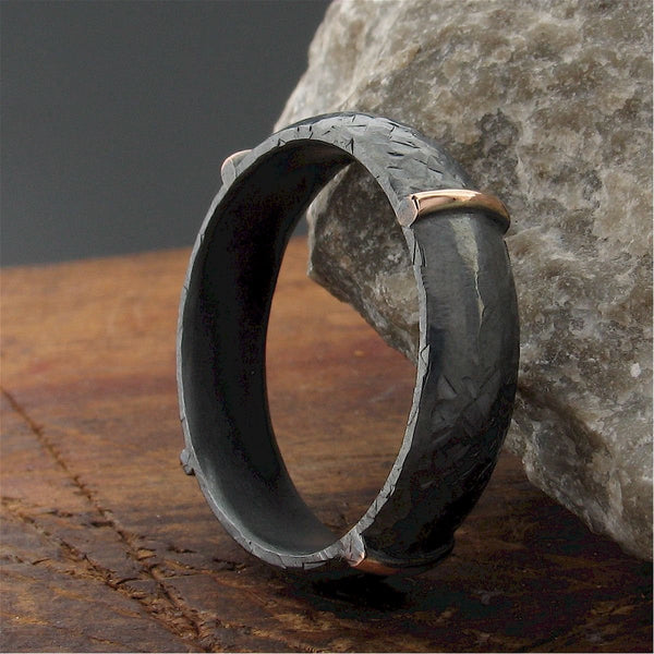 Mens black silver & rose gold wedding ring Lakeland Mine design. Mens Designer Rings Wedding Ring