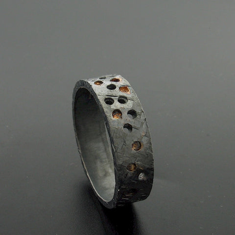 Black hammered wide wedding ring Night Stars design. - Cumbrian Designs