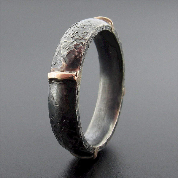 Mens black silver & rose gold wedding ring Lakeland Mine design. - Cumbrian Designs