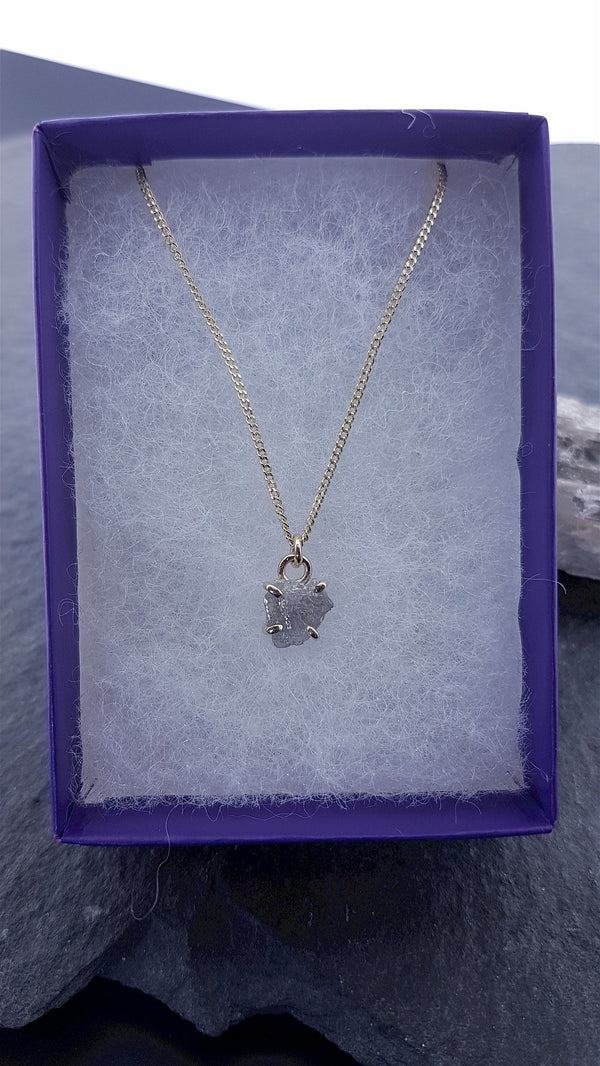 Diamond set gold necklace with chain. 1.22ct