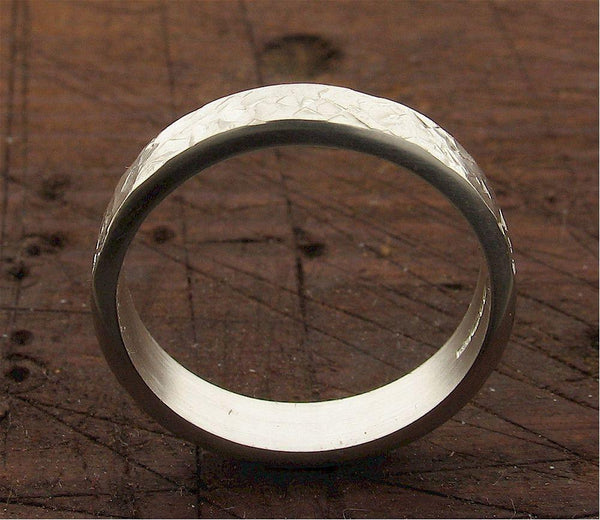 Wedding Ring, silver Rustic Hammered flat style band 4mm wide for a lady or man.