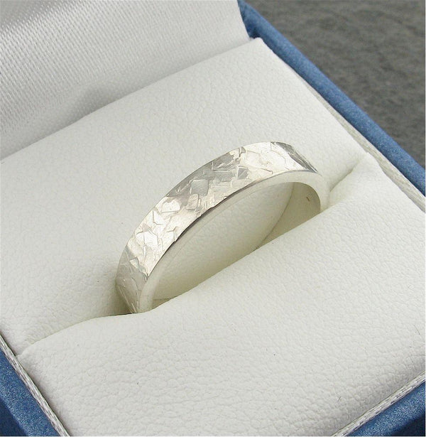 Wedding Ring, silver Rock Fall flat style band 4mm wide for a lady or man. - Cumbrian Designs