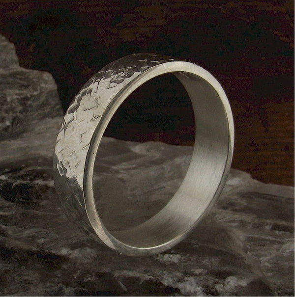 Wedding Ring, Mans heavy flat Rustic Hammered style band handmade in silver 6mm wide. - Cumbrian Designs