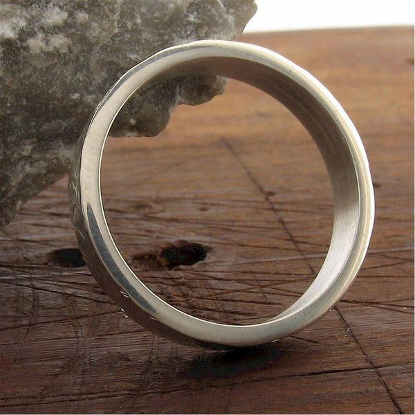 Wedding Ring, white gold 4mm Rock Fall style for a woman or man - Cumbrian Designs