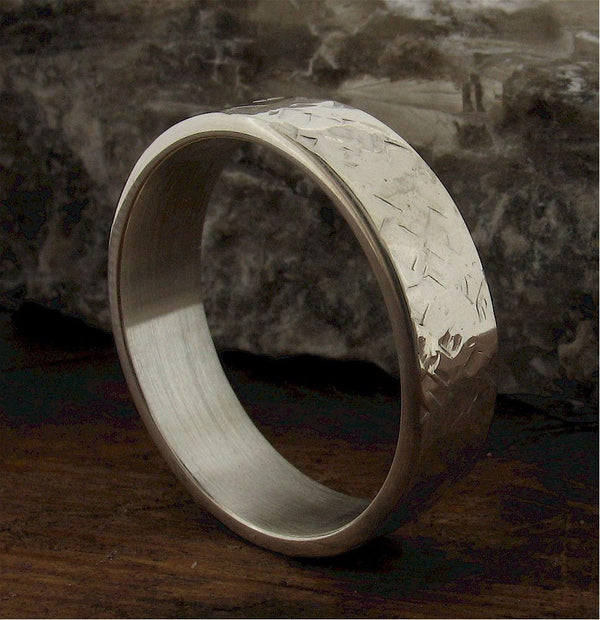 Mans 18ct white gold 6mm wedding ring, heavy flat Rock Fall band - Cumbrian Designs