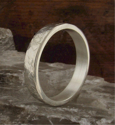 Wedding Ring, silver Rustic Hammered flat style band 4mm wide for a lady or man. - Cumbrian Designs