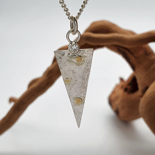 Diamond set silver and gold pendant, Morning View triangle design - Cumbrian Designs
