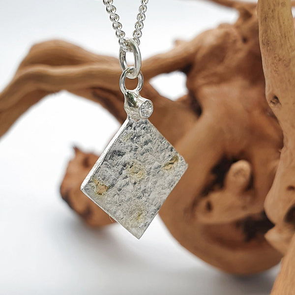 Diamond set silver and gold pendant, Morning View Kite design - Cumbrian Designs