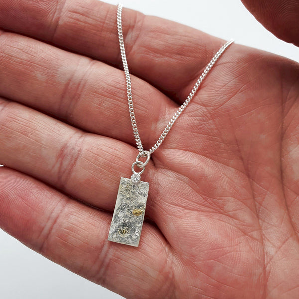 Diamond set silver and gold pendant, Morning View drop design - Cumbrian Designs