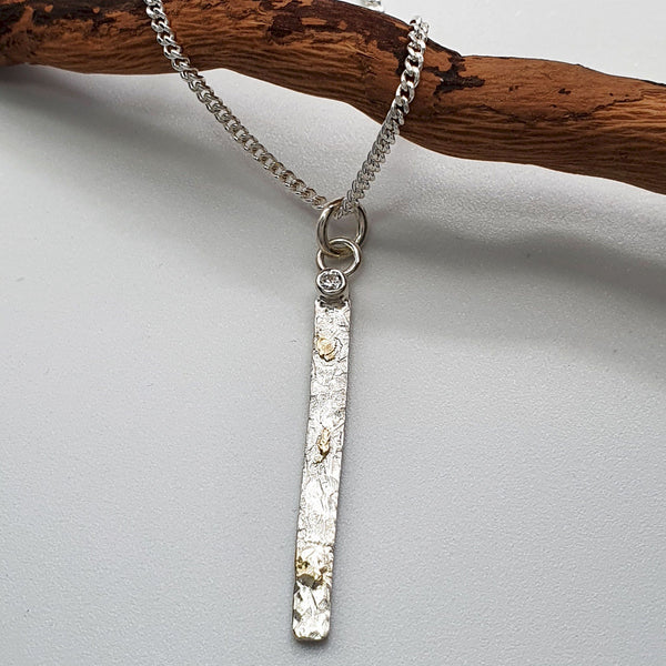 Diamond set silver and gold pendant, Morning View long drop design Pendants Pendant