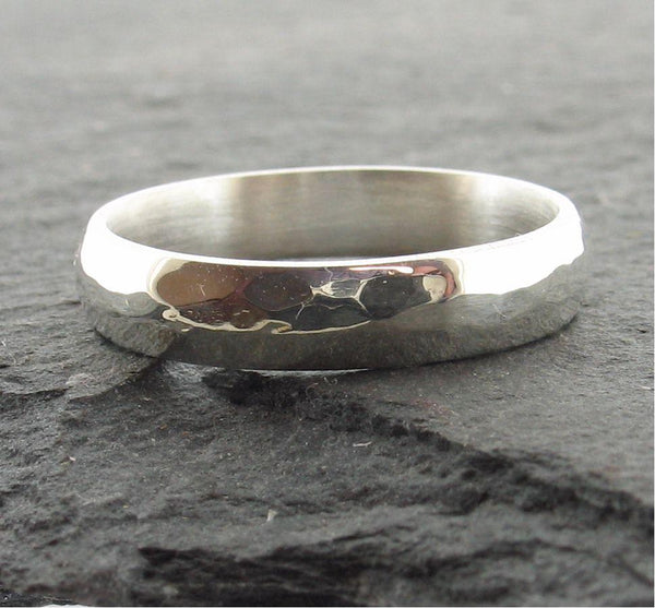 Silver thin wedding ring, Pebble design - Cumbrian Designs